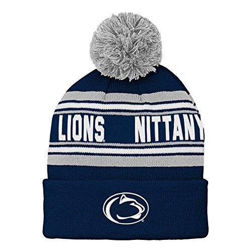 NCAA Penn State Nittany Lions Kids & Youth Boys Jacquard Cuffed Knit with Pom, Youth Boys One Size, Dark Navy