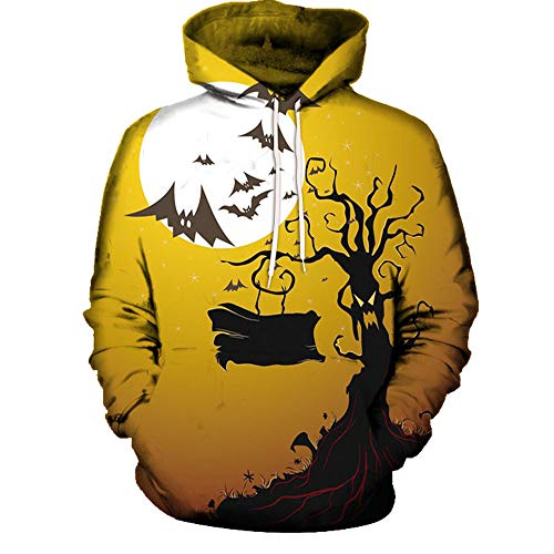 TWGONE Couples Shirts Halloween Mode 3D Print Long Sleeve Womens Tops Hoodies Blouse (US-6/CN-XL,Yellow) -