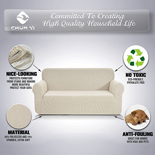 CHUN YI 1-Piece Jacquard High Stretch Loveseat Slipcover, Polyester and Spandex 2 Seater Cushion Couch Cover Coat Slipcover, Furniture Protector Cover for Sofa and Couch (Loveseat, Ivory White)