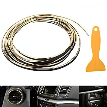 Oro - 5 Metros con metálicas brillo con moldura Interior decorativa Rayas para Auto Coche NFZ flexible Trim Strip Molding 101814 - de INION®: Amazon.es: ...