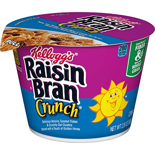 (Kellogg's Raisin Bran Crunch, Breakfast Cereal in a Cup, Original, Good Source of Fiber, Bulk Size, 2.8 oz(Pack of 12))