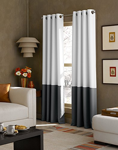 Curtainworks Kendall Color Block Grommet Curtain Panel, 95 inch, White / Dark Grey ()