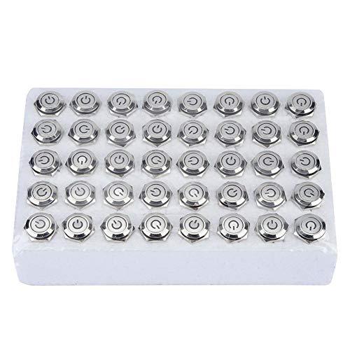 セルフロッキングボタンスイッチ、40個16mm 24V LEDライト5ピンセルフロッキングメタルフラットヘッドプッシュボタンスイッチ、電磁スターターコンタクターリレー用(赤)