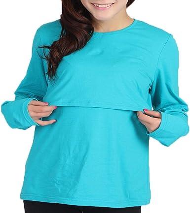 Mujeres Camiseta de Lactancia Premamá Camisa de Maternidad Ropa de Enfermería Mangas Largas Blusa de Maternal: Amazon.es: Ropa y accesorios