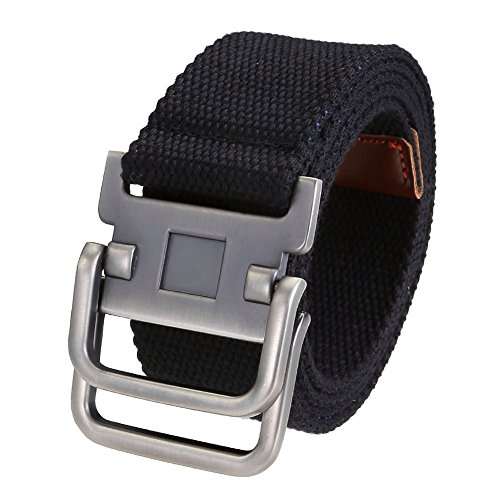 Ayliss Fashion D-Ring Buckle Thicken Canvas Belt Casual Waistband,Black - Casual Canvas Belt