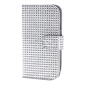 Diamond Style PU Leather with Magnetic Buckle and Card Slot Pouches for Samsung Galaxy S3 I9300 --- COLOR:Silver