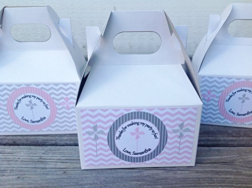 10 - Gable Boxes - Pinwheel Happy Birthday Collection - Light Pink and Gray Chevron & White Accents - Party Packs (Gables One Light)