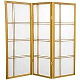 ORIENTAL FURNITURE 4 ft. Tall Double Cross Shoji Screen - Honey - 3 Panels
