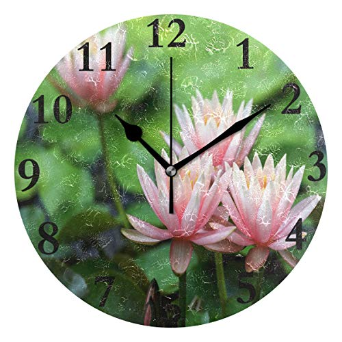 FunnyCustom Round Wall Clock Lotus Flower Beautiful, used for sale  Delivered anywhere in USA