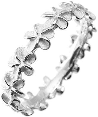 Hawaiian Maile Leaf Eternity Sterling Silver Stackable Ring for women gifts for her