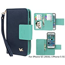 Case for iPhone SE/iPhone 5 5S, xhorizon TM SR Premium Leather Folio Case Wallet Magnetic Detachable Purse Multiple Card Slots Bird Case for iPhone 5 5S / iPhone SE (2016) with a Car Mount Holder (Navy)