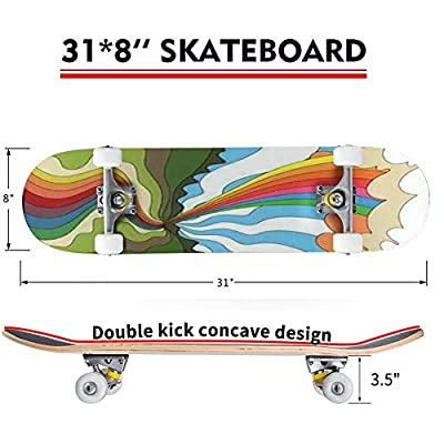 Classic Concave Skateboard Colorful Landscape Vintage Background 1960s Psychedelic Hippie Art Longboard Maple Deck Extreme Sports and Outdoors Double Kick Trick for Beginners and Professionals : Sports & Outdoors