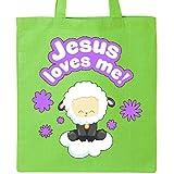 Inktastic Jesus Loves Me Cute Lamb and Flowers Tote Bag Lime Green