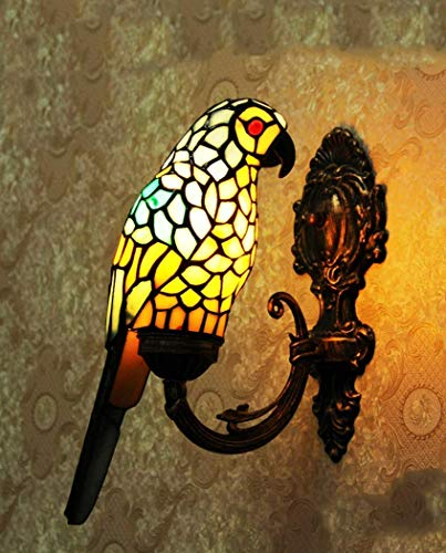 Bracket Light/Wall Hanging Lamp Tiffany Style Glass Lampshade, European Style Retro Parrot Decorative Wall Light, Stained Glass Wall Light, 110-220W, BOSSLV, Blue