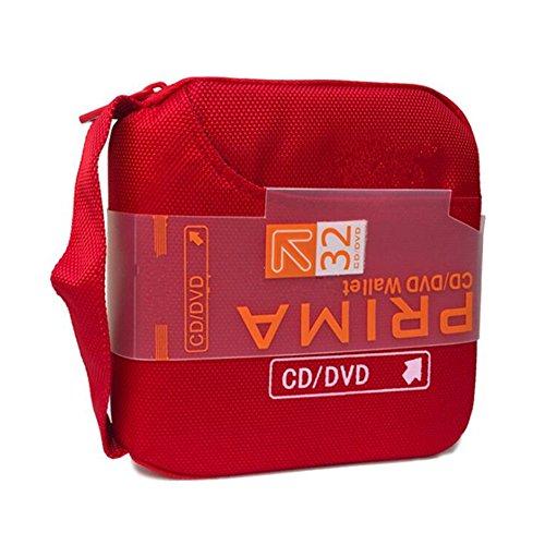 Ksmxos 32 Disc CD/DVD Portable Wallet CD Case Bag Storage Organizer Holder Protective DVD Storage Home Office and Travel - Red