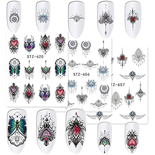Nail Stickers for Women Nail Art Supplies Water Transfer Nail Tattoo Stickers 24 Sheets DIY Nail Art Accessories Black Flower Animal Lace Jewels Nail Art Stickers for Manicure Fingernail Decorations ()