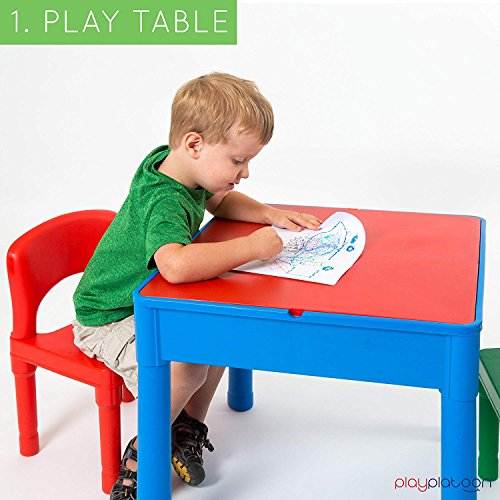 Play Platoon Kids Activity Table Set - 3 in 1 Water Table, Craft Table Building Brick Table Storage - Includes 2 Chairs 25 Jumbo Bricks - Primary Colors by Play Platoon (Image #2)