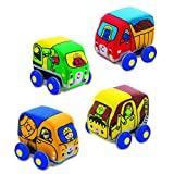 Melissa & Doug Pull-Back Construction Vehicles - Soft Baby Toy Play Set of 4 Vehicles