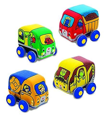 Melissa & Doug Pull-Back Construction Vehicles - Soft Baby Toy Play Set of 4 Vehicles