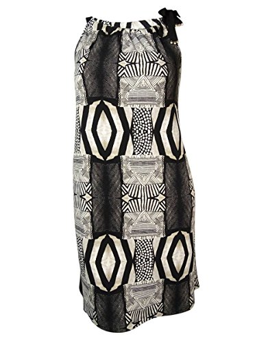[Alfani Women's Tribal-Print Halter-Tie Jersey Dress (L, Batik Mix Black)] (Halter Jersey Tie)