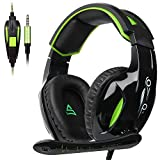 [2017 Newest Version]Supsoo G813 3.5mm Wired Over Ear Noise Cancelling Volume Control Gaming Headset Headphones with Microphones Rotatable for PC/Mac/Ps4/New Xboxone/Table/Phone(Black Green)