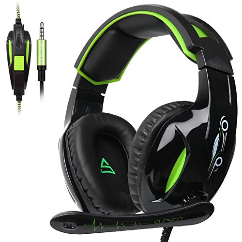 New Black Green - Supsoo G813 Gaming Headset 3.5mm Wired Over Ear Noise Cancelling Volume Control Gamer Headphones with Microphones Rotatable for PC/Mac/Ps4/New Xboxone/Table/Phone(Black Green)