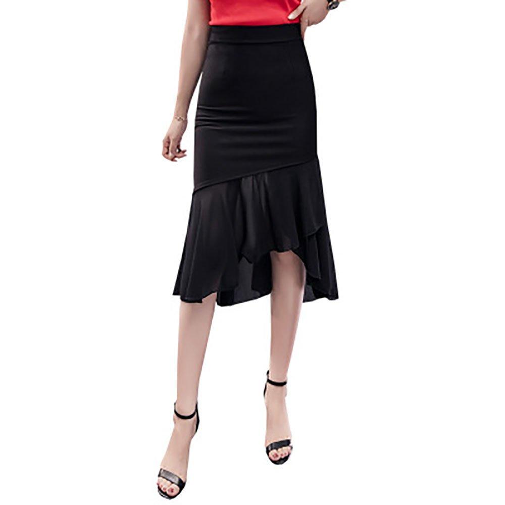 YOUMU Women Sexy Bodycon Retro Stretch Hip Stitching Skirt High Waist All-Match (US XS/Waist:25.9-30.7'')