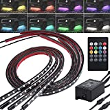 Justech Car Underglow Lights 4PCS 8 Colors Car LED Neon Undercar Glow light Sound Active Sync to Music Wireless Remote Control 5050 RGB LED Light Strips Underbody Exterior Lights Kit
