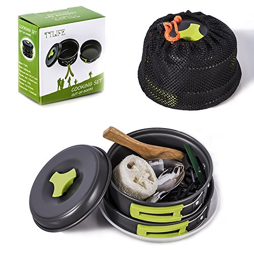 TTLIFE Camping Cookware Mess Kit Backpacking Gear Hiking Outdoors Bug Out Bag Cooking Equipment 12 Pieces Cookset Lightweight Compact Durable Pot Pan Bowls Free Folding Spork, Nylon Bag - Mess Kit Teflon