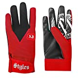AJ Styles P1 Logo Pro Wrestling Fight Gloves, One Size, Red