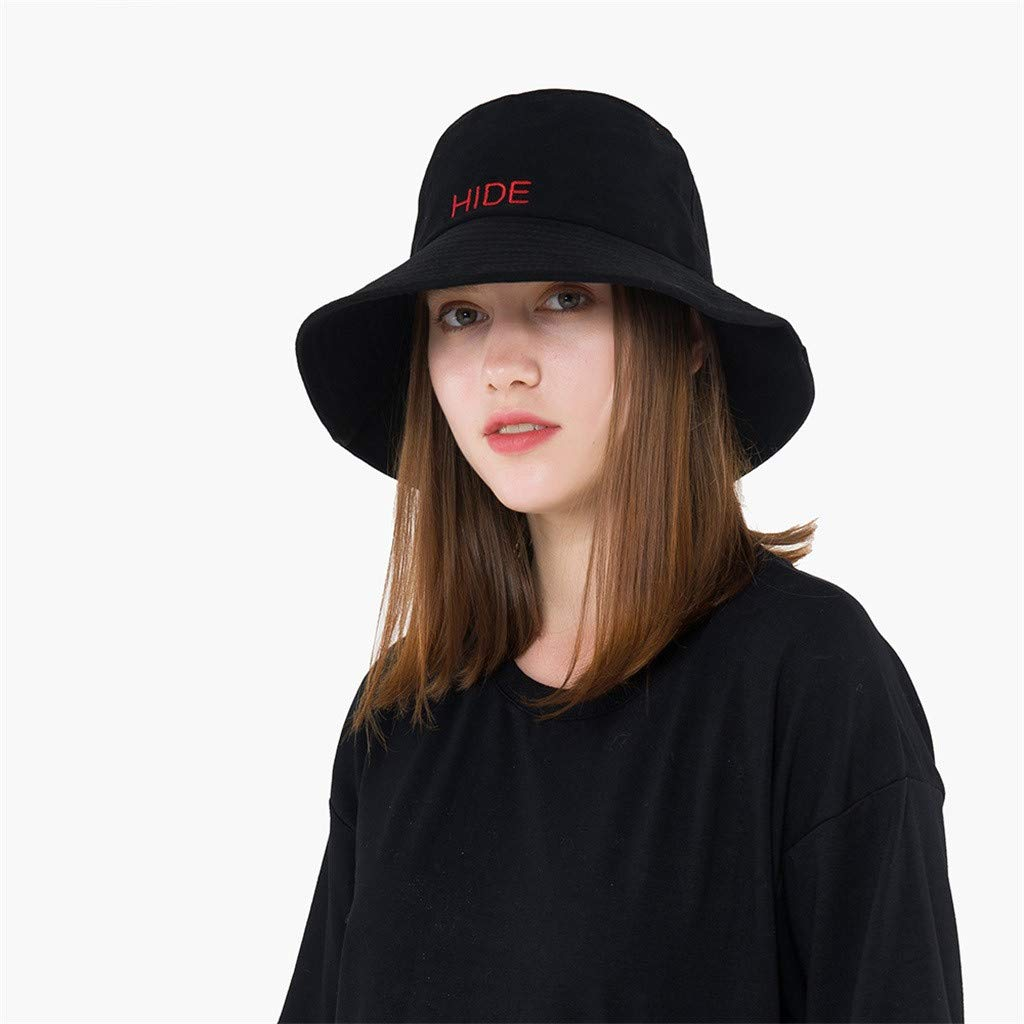 Suma-ma Unisex Visor Collapsible Embroidery Fisherman Hats Comfortable Bucket Hat Casual Outdoor Caps