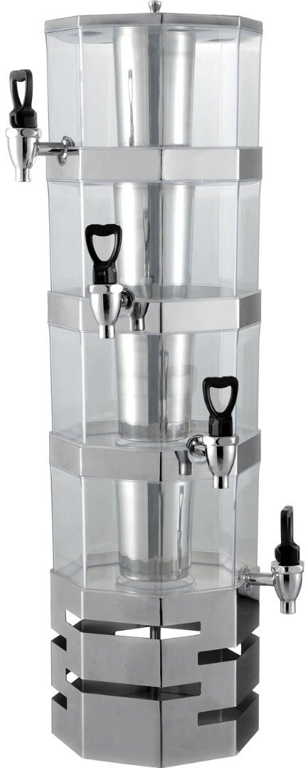 4 Tier Stack-able Juice Drink Dispenser Heavy Duty Stainless Steel Base & rings with center ice core 3.5 liter per tier Stackable (4 Tier) by ChefMaid