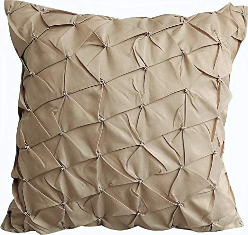 The HomeCentric Beige Decorative Taffeta Throw Pillow Cover, 14×14 inch 35×35 cm Beige Couch Pillows, Pintuck Textured with Silver Beads Taffeta Pillow Cover, Beige Pillow Covers – Desert Texture