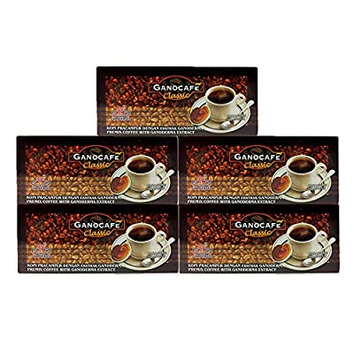 Classic Black Coffee, 5 boxes, by Ganoexcel, 30 sachet/box, Ganoderma Enriched Ganocafe Coffee, Express