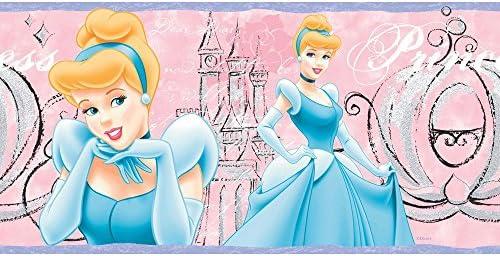 Imperial Disney Home DF059163B Cinderella Princess Border, Pastel Pink, 9-Inch Wide [並行輸入品]