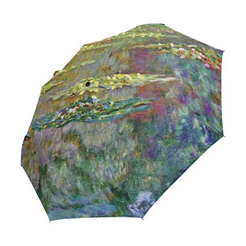 XiangHeFu Umbrella Water Lilies Monet Painting Auto Open Close 3 Folds Lightweight Anti-UV