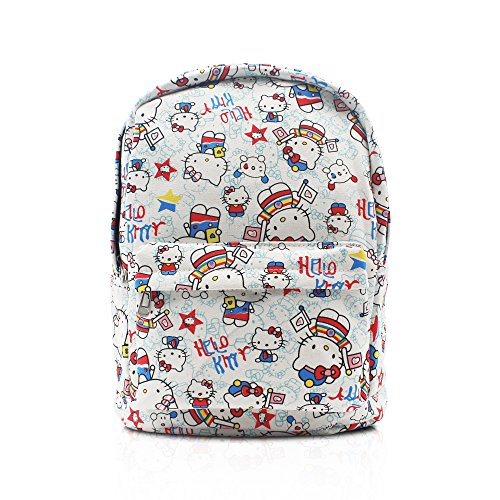 Finex White Hello Kitty Canvas Backpack with Laptop storage compartment for School College Daypack Causal Travel (Hello Kitty School Backpack)