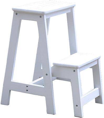 Taburetes Taburete de escalera, taburete plegable antideslizante y durable escalera de madera multifuncional Escalera de interior escalera de la sala de estar (Color : Blanco , Size : 29*48*55cm) : Amazon.es: Hogar