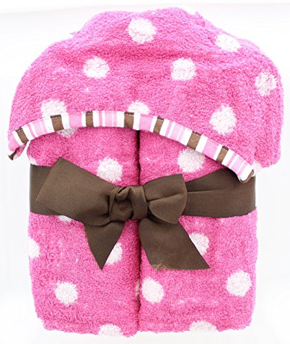 Jay Franco Polka Dots Kids Hooded Bath Towel - 100% Cotton - Soft and Absorbent (Pink)