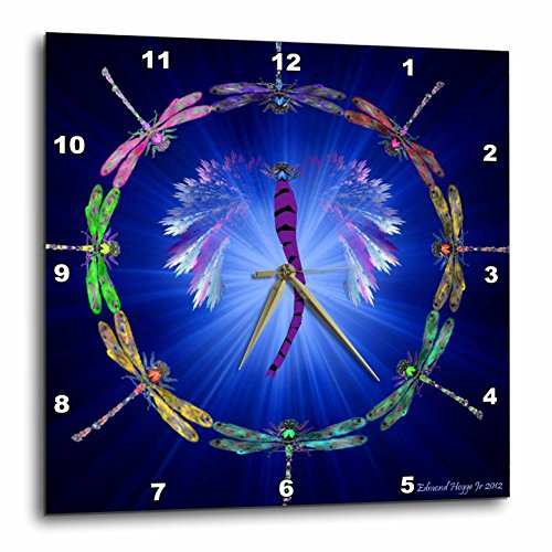 3dRose dpp_50288_1 Dragonfly Dance-Wall Clock, 10 by 10-Inch