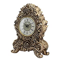 TOYM US European-style living room clock creative retro fashion silent resin carved table clock 25 35.5 12.5cm ( Color : Antique gold )