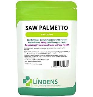 Lindens Saw Palmetto 500mg 3-PACQUETE 300 tabletas de Serenoa repens Hombres hierba