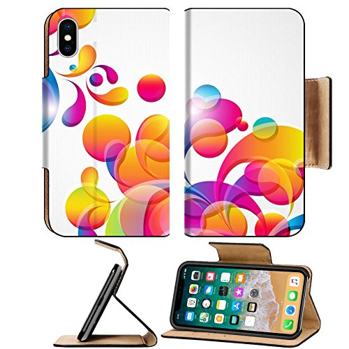 MSD Premium Apple iPhone X Flip Pu Leather Wallet Case IMAGE ID: 9391159 Abstract background with bright circles and teardrop shaped - The Circle Arches