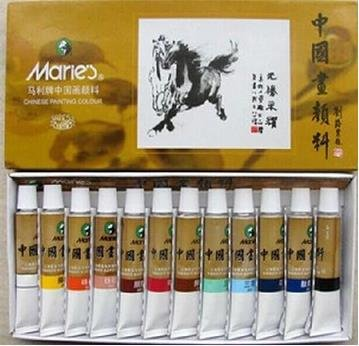 Big Size 12 Colors Marie's Watercolor Chinese Painting Tubes (12ml)