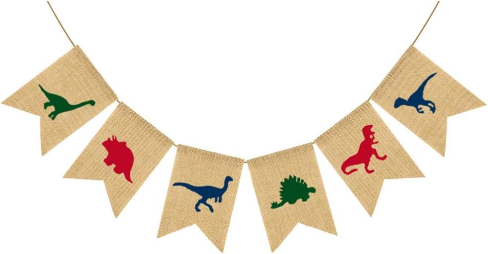 Amosfun Enfants f/ête Toile de Jute banni/ère Vintage Dinosaure Fanion Drapeau d/écoratif Rustique Banderole Guirlande pour Anniversaire Mariage Baby Shower Home Decor