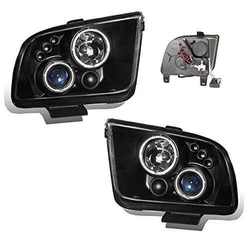 SPPC Projector Headlights Black Assembly Set (CCFL Halo) For Ford Mustang - (Pair) Driver Left and Passenger Right Side Replacement Headlamp