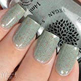 Rose Bud | Green Gray Crelly Nail Polish with Rainbow Flakies | by Black Dahlia Lacquer