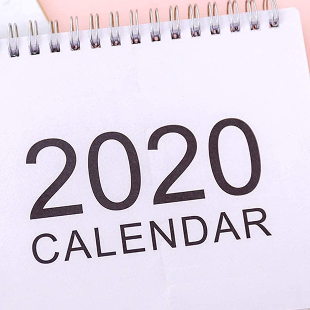 Vosarea 2pcs 2020 Stand-up-Tischkalender Doppeldrahtbindung Desktop Kalender Monatsplaner Tageskalender Planer f/ür Schule Klassenzimmer