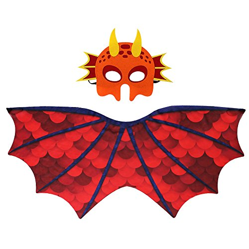 Kids Dinosaur Wings Costume with Felt Mask Dragon Cape Accessory-Boys Girls Pretend Play Dress up Party (Dragon Costumes For Children)