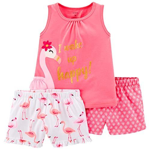 Carter's Girls' 3-Piece Poly Pajamas (Pink/Flamingo, - Flamingo Pajamas